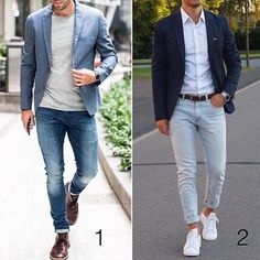 Pick your look 1 or 2 ? Follow @menwithstyle for more