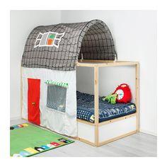 KURA Bed tent with curtain, gray, white gray/white -