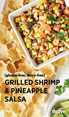 Yes, Grilled Shrimp and Pineapple Salsa goes really well with chips, but it could make a great filling for pita bulked up with chopped mangos or other tropical fruits.