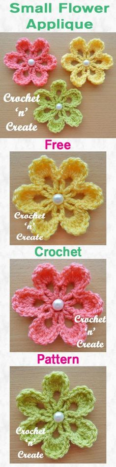 Crochet Flowers Pattern Free crochet pattern for small flower applique. Appliques Au Crochet, Crochet Motifs, Crochet Stitches, Crochet Crafts, Crochet Projects, Knitting Projects, Crochet Ideas, Free Crochet Flower Patterns, Crochet Simple
