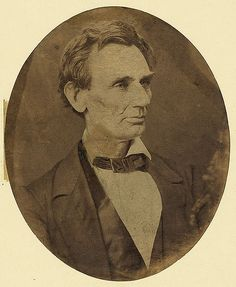 """Hesler, Alexander, 1823-1895, photographer.  [Abraham Lincoln, candidate for U.S. president. Head-and-shoulders portrait, facing right, June 3, 1860]  [Springfield, Ill.,  1860]  1 photographic print ; oval 6 x 5 in.  Notes:  """"Not long after Lincoln's nomination [for president], a Chicago reporter visited his home and noticed a framed photograph over the sofa. Likely it was one of the Hesler poses ... Observed the nominee: 'That picture gives a very fair representation of my home..."""