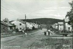 Nord-Trøndelag fylke Steinkjer Svenskebyen. Et par arbeidere er i gang med å sette opp et gjerde el. l. Bil. Utg Mittet brukt 1951