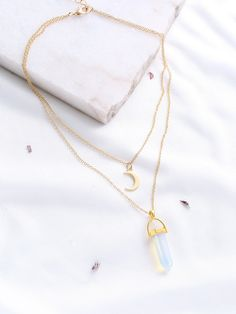 Necklaces by BORNTOWEAR. Gold Crystal And Crescent Pendant Layered Necklace
