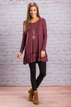 """""""Care To Unwind Tunic, Plum"""" We are so excited to present to you.... this fabulously ruffled tunic!!! That ruffled little hemline is so adorable!  #Newarrivals #shopthemint"""