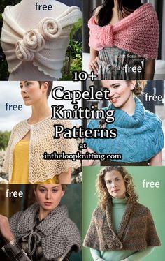 Knitting Patterns Knitting patterns for capelets from romantic wraps to lace capes to casual ponchos.Knitting patterns for capelets from romantic wraps to lace capes to casual ponchos. Capelet Knitting Pattern, Outlander Knitting Patterns, Knitted Capelet, Beginner Knitting Patterns, Knitting For Beginners, Easy Knitting, Loom Knitting, Knit Shawls, Vogue Knitting