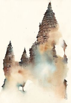 Architecture 3 on Behance-Watercolors by Sunga Park
