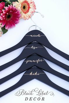 Engraved matte black bridal party wood hangers for dresses by Black Label Decor www.blacklabeldecor.com