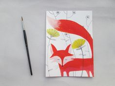 In this original artwork hand painted with acrylic colors, a little fox face come out of the last yellow flowers in the autumn forest. This
