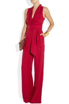 Catherine Malandrino~Belted washed-silk jumpsuit