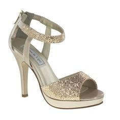 """This is the perfect champagne glitter platform sandal with 3 3/4"""" heel for your special occasion.  With a zip up back for style and ease. http://www.gowngarden.com/Sidney-by-Touch-Ups-TU445-p/bw-tu445.htm #Homecoming Shoes"""
