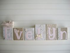 Elegant Wall Art for Nursery. Personalized Letter Blocks. $13.00, via Etsy.