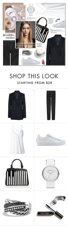 """Blazer & Sneakers - Monochrome"" by anyasdesigns ❤ liked on Polyvore featuring Acne Studios, Karl Lagerfeld, Dondup, adidas Originals, Tine K Home, Marc Jacobs, David Yurman and Bobbi Brown Cosmetics"