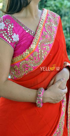 Georgette Saree with pink and gold gota work border . Coming soon. Bandhani Saree, Georgette Sarees, Blouse Patterns, Saree Blouse Designs, Indian Wedding Outfits, Indian Outfits, Gota Patti Saree, Stitching Dresses, Saree Border