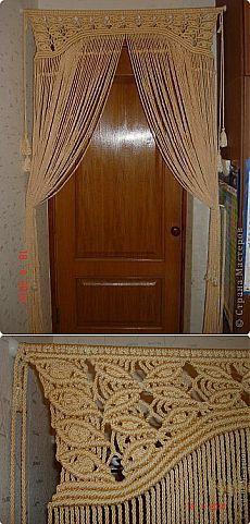 Штора на дверь. Макраме..
