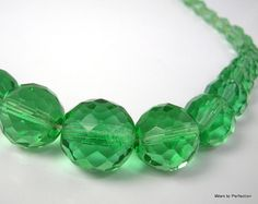 Art Deco Green Glass Beaded Necklace by worn2perfection on Etsy, $115.00