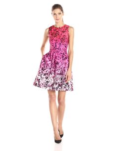 Vince Camuto Women's Sleeveless Floral Printed Fit and Flare Dress, Pink, 8