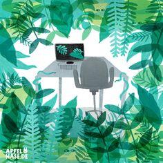 Apfelhase Illustrations Office djungle, Büro-Dschungel, desk, Schreibtisch, Büro, office, Pflanzen, plants