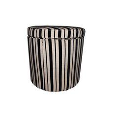 Black/ Beige Striped Storage Ottoman | Overstock.com