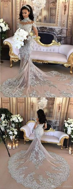 Mermaid High Neck Long Sleeves Chapel Train Silver Tulle Wedding Dress with Appliques