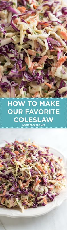 How to make our favorite coleslaw recipe on http://inspiredtaste.net / /inspiredtaste/