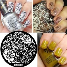 QUEEN24 Vines And Flowers Nail Art Nail Stamping Plates Template  DIY Nail Stamp Print Image Plate