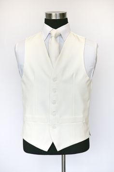 Ivory Single Breasted Wool Waistcoat with Ivory Tie Wedding Waistcoats, Single Breasted, Ivory, Vest, Tie, Suits, Jackets, Collection, Costumes