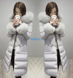 Womens Big Fur Hooded Duck Down Thicken Gull Long Winter Warm Coats Size