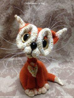Project by Kisa Plus. #LittleOwlsHut, #Amigurumi, #CrohetPattern, #Crochet, #Crocheted, #Cat, #Pertseva, #DIY, #Craft, #Pattern