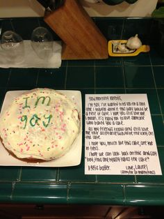 coming out. it's a piece of cake. good idea for our LGBT brothers & sisters Transgender, Coming Out Stories, Lgbt Memes, Lgbt Love, Out Of The Closet, Lgbt Community, Piece Of Cakes, Gay Pride, Sweet