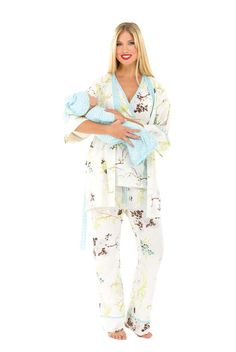 Olian Anne 5 Piece Mom And Baby Maternity Nursing Pajama Gift Set - Floral  Sprigs |