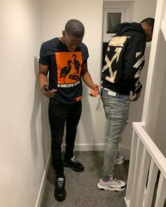 Image may contain: one or more people, people standing, shoes and indoor Black Men Street Fashion, Mens Fashion, Dope Outfits, Urban Outfits, Men's Outfits, Fashion Outfits, Sneakers Outfit Men, Handsome Black Men, Mens Clothing Styles