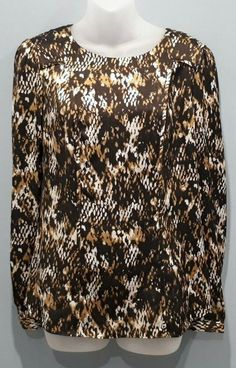 Anne Klein Animal Print Satin Blouse Womens Size Small Brown Snake Trim Top #AnneKlein #Blouse #Casual Tie Neck Blouse, Wrap Blouse, Short Sleeve Blouse, White Zebra, Ethnic Print, Black Animals, Layered Look, Anne Klein, Sleeve Styles