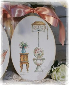 "A set of 2 ""Vintage Bathroom""~Shabby Chic~Country Cottage style~Wall Decor Sign $16.29"