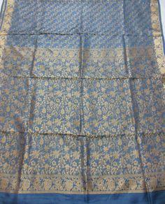 Silk sari pure Beneras silk saree fabric Quilt Craft Grey zeri woven floral design zari borders 5.8 yards