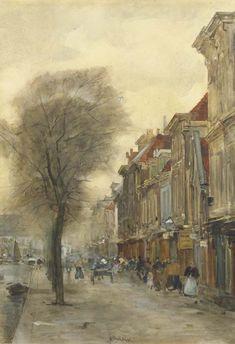 Figures on the Brouwersgracht, Hague, Floris Arntzenius. Dutch (1864 - 1925)