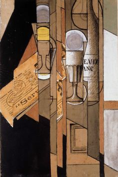 """Glasses, Newspaper and Bottle of Wine"".Artist: Juan Gris Style: Synthetic Cubism Genre: still life. Cubist Artists, Cubism Art, Synthetic Cubism, Abstract Expressionism, Abstract Art, Francis Picabia, Sonia Delaunay, Wine And Canvas, Georges Braque"