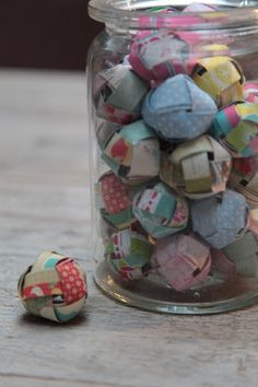 """A jar of fortune balls (but you can obviously write anything in these, so it could be """"reasons I love you"""" or """"texts I've sent you throughout the year"""""""