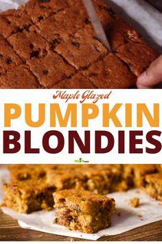 Fall Cookie Recipes, Fall Dessert Recipes, Thanksgiving Recipes, Just Desserts, Pumpkin Spice Syrup, Pumpkin Spice Cake, Pumpkin Dessert, Pumpkin Blondies Recipe, Pumpkin Cream Cheeses