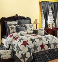 America King Patriotic Americana Country Patchwork Star Quilt. For guest room