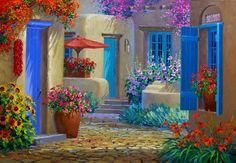 Mikki Senkarik 1954   American Plein-air painter   A Touch of Greece