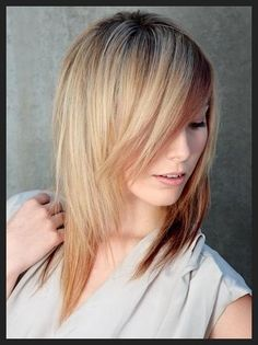 medium length layered hair...with shorter side bangs to the left
