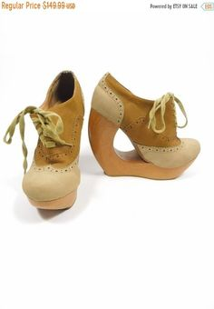 8666f002e SHOP SALE Vintage Cleopatra Tan Camel Brown Leather Boho Hollow Wooden  Platform High Heels Round Toe Lace Up Shoes Oxfords Sz 7