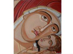 Saint Mary And Jesus Christ Hand painted Icon Greek Religious. Greek Icons, Paint Icon, Mary And Jesus, Greek Art, Religious Art, Beautiful Hands, Painting On Wood, Holi, Jesus Christ