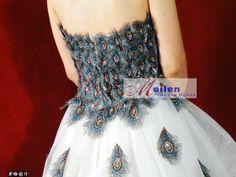 Peacock Wedding Dress | NEW STUNNING Small drag peacock feathers DRESS-in Wedding Dresses from ...