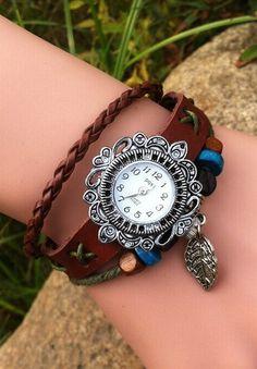 Leaf Charm Leather Bracelet Watch