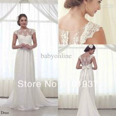 2014 Summer Chiffon White Bow Bridal Gowns With Applique Sheer Back Cap Sleeves Long Train Empire Vintage Wedding Dresses BO2240