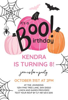 Cute Halloween - Birthday Invitation #invitations #printable #diy #template #birthday #party Halloween Birthday Invitations, Birthday Invitation Templates, Cute Halloween, Text You, Text Messages, Create Yourself, Printable, Party, Diy