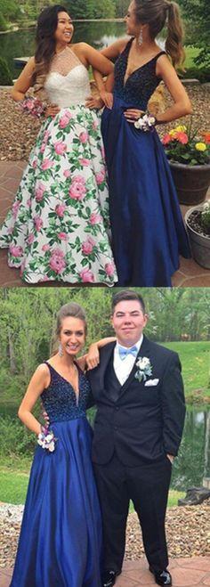 royal blue prom dresses, deep v-neck prom dresses, 2017 prom dresses beaded, elegant prom dresses, dresses for women  Hot Selling V-neck Floor-Length Royal Blue Prom Dress with Beading