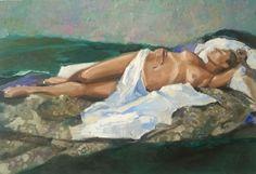 Anna, oil on canvas, 90x130cm, lying, naked woman. Michał Zaborowski