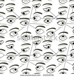 Seamless Pattern with Eyes Looking and Sight Tracks Represented by Dotted Lines. The vector file contains the pattern swatch. - stock vector